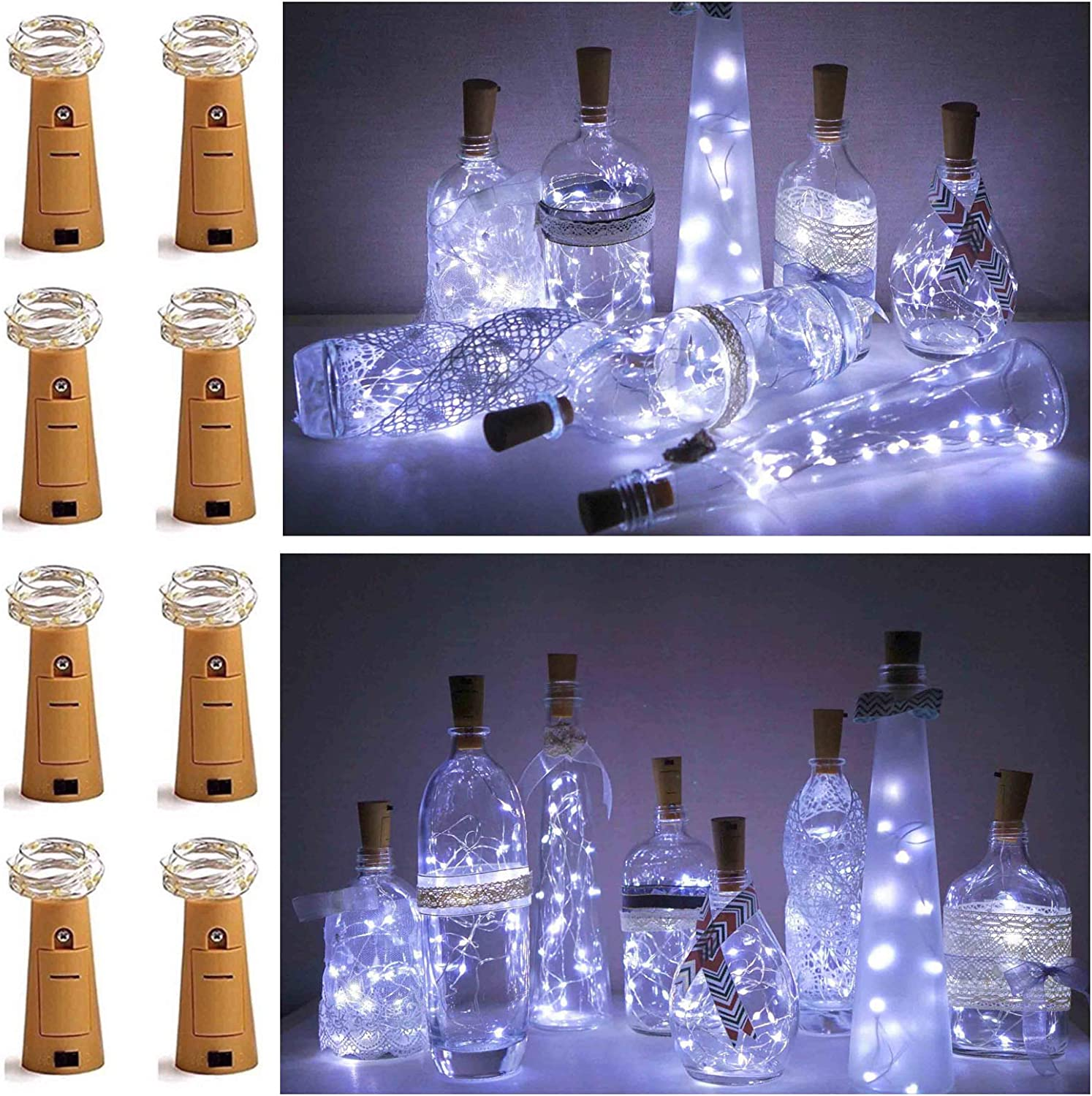 UK 20LED Wine Bottle Copper Wire Fairy String Light Cork Festival Party Colorful