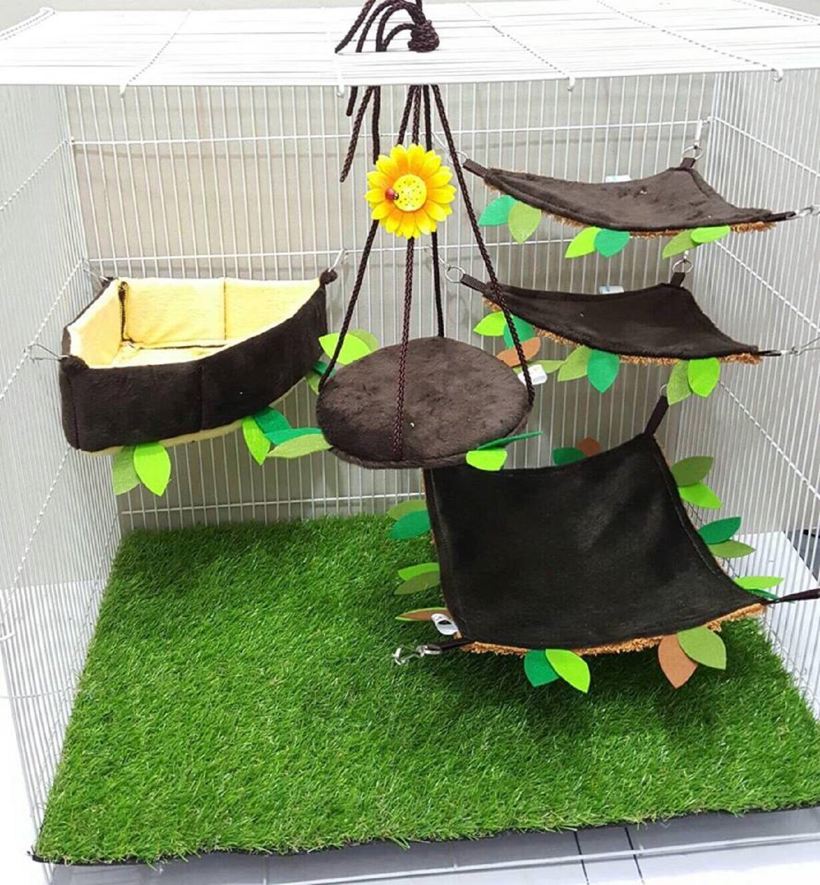5 Pcs Sugar Glider Hamster Squirrel Chinchillas Small Pet Edge Cushion Cage Set Forest Pattern Get Free 1 Small Pet Treats, Polar Bear's Republic