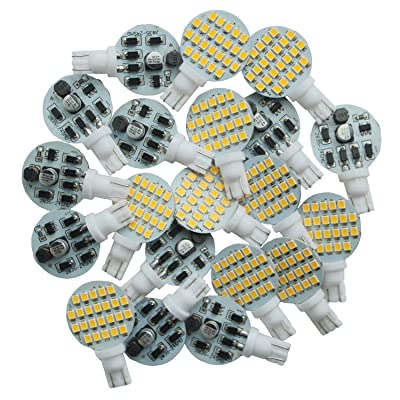 Debonauto 20 x T10 LED Light Bulb Super Bright 3000k~3500k 12v 4.8w 168 194 Trailer,Boat,RV,Iandscaping & Camper Interior Wedge 24-SMD (Warm White): Automotive