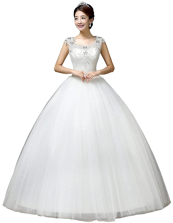 de8e5e5680 Clover Bridal 2019 Elegant Scoop Jewel Nest Applique Crystal Sequined  Bridal Gown Wedding Dress Ivory at Amazon Women's Clothing store: