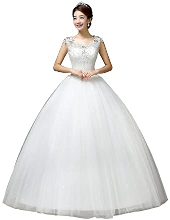846c20157476 Clover Bridal 2019 Elegant Scoop Jewel Nest Applique Crystal Sequined  Bridal Gown Wedding Dress Ivory at Amazon Women's Clothing store: