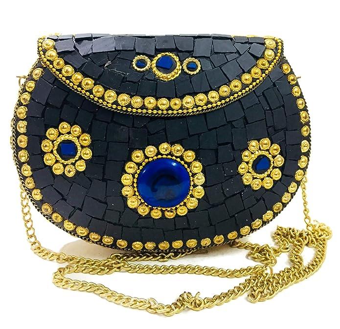 Vintage Handbags, Purses, Bags *New* Women Black Bridal clutch girls marriage clutch mosaic metal bag antique ethnic clutch Indian antique purse $29.00 AT vintagedancer.com