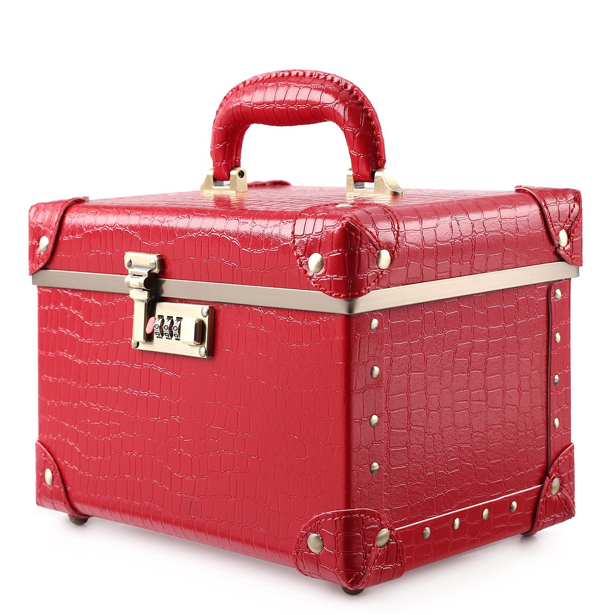 """Portable Makeup Train Case Double Layer Cosmetic Bags Leather Toiletry Case for Women (15"""", Red Crocodile)"""