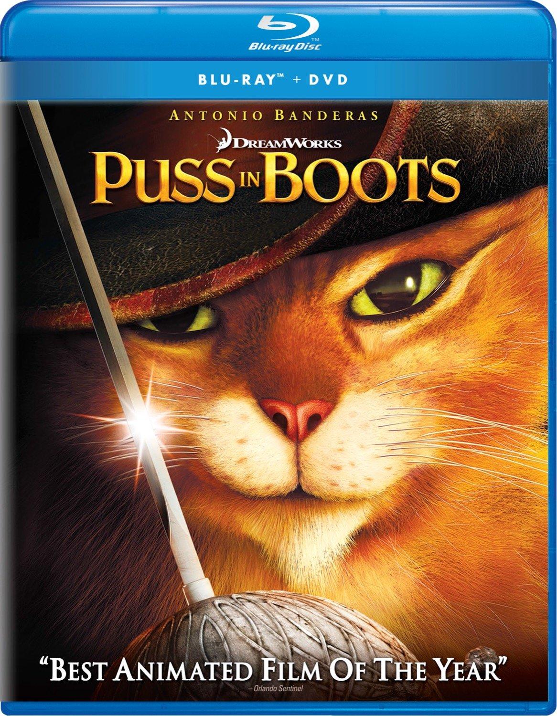 Amazon Com Puss In Boots Two Disc Blu Ray Dvd Combo Digital Copy Antonio Banderas Walt Dohrn Chris Miller Movies Tv