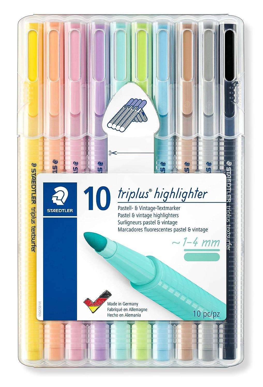 Staedtler Triplus Textsurfer Pastel & Vintage 362 CSB10. Rotuladores fluorescentes colores Pastel y Vintage. Estuche exclusivo STAEDTLER box con 10 ...