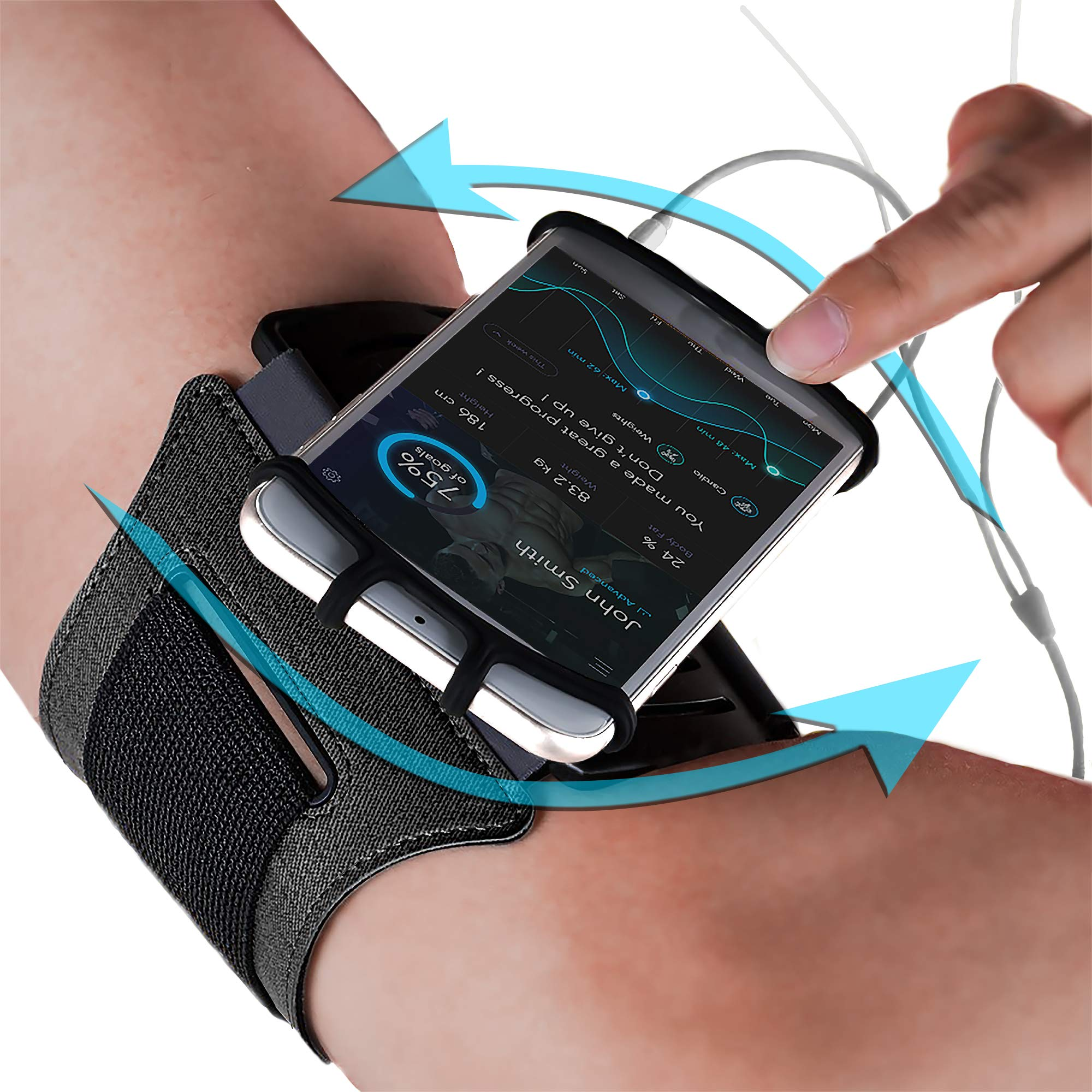 Sports Armband: Cell Phone Holder Case Arm Band Strap Pouch Mobile Exercise Running Workout For Apple iPhone 6 6S 7 8 X Plus Touch Android Samsung Galaxy S5 S6 S7 S8 S9 Note 8 5 Edge Pixel (Rotatable) by E Tronic Edge