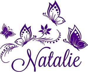 """Personalized Custom Butterflies Butterfly Flower Name Vinyl Decal Sticker Wall (Large: 28"""" x 23"""" Inches)"""