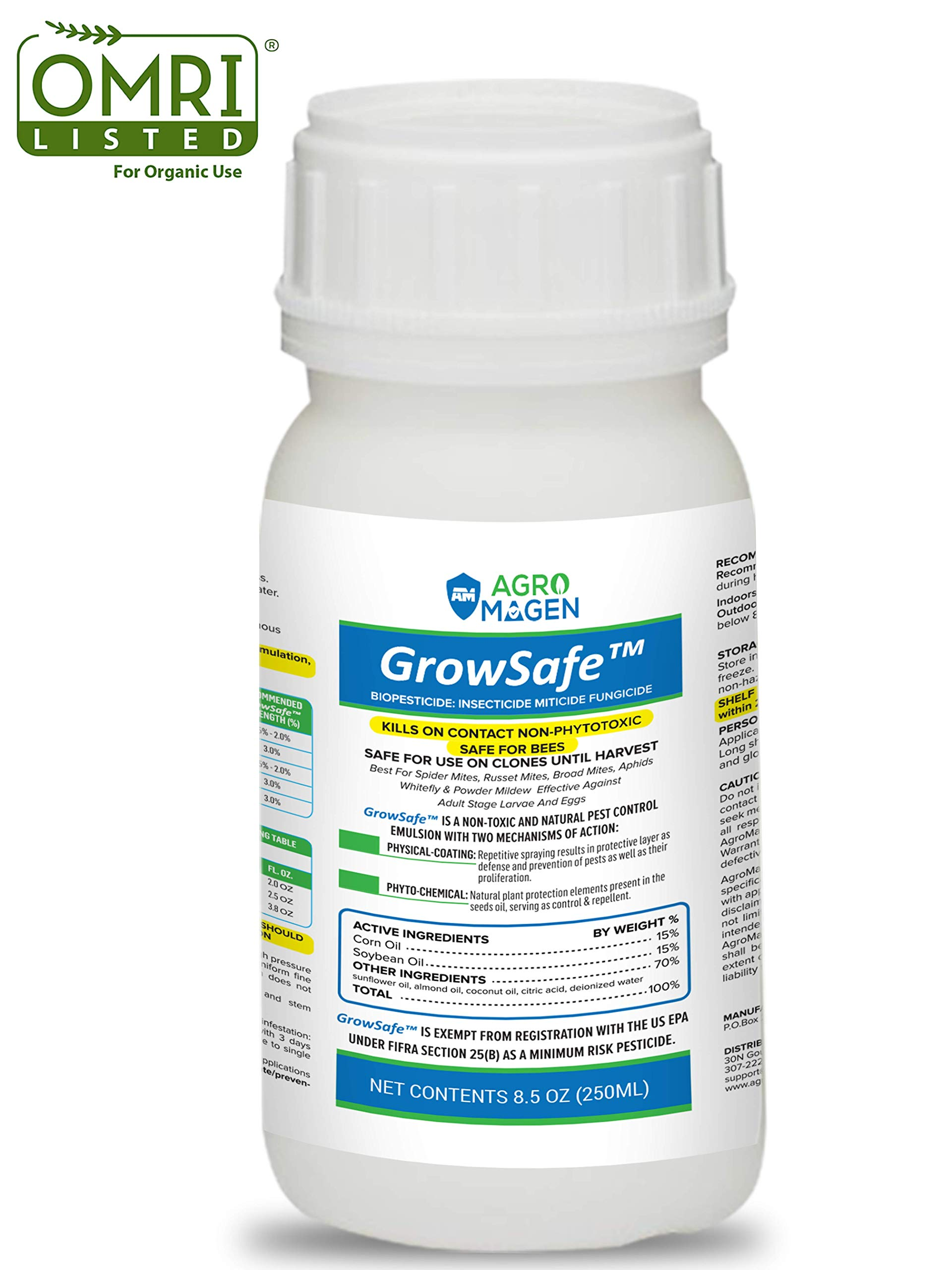 GrowSafe Bio-Pesticide Organic All-Natural Miticide,Fungicide Insecticide. Better and Safer Than Other Oils for Plants,Non-Toxic,Control Spider Mites, Powdery Mildew.Non-Phytotoxic,Concentrate (8.5oz) by AgroMagen