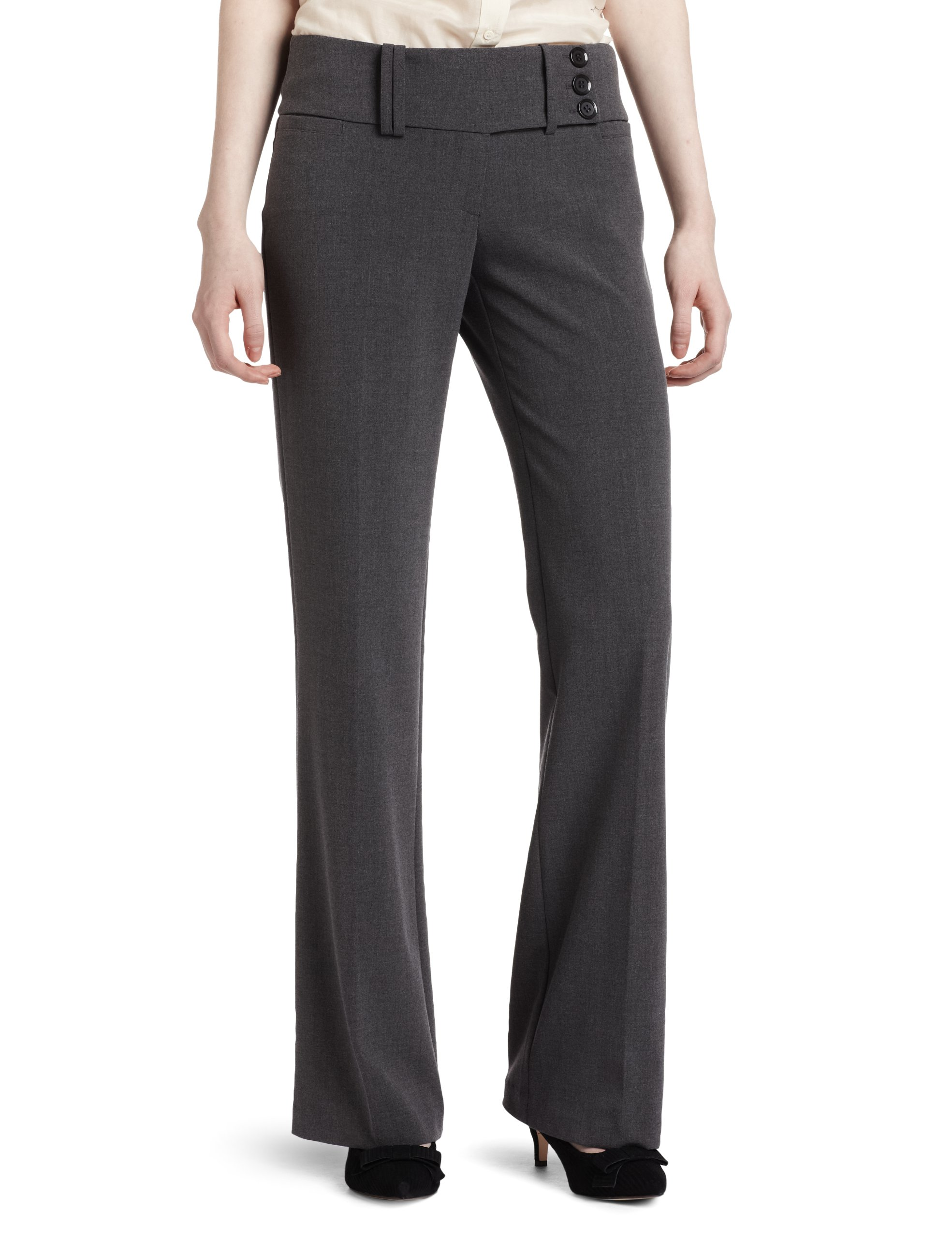 My Michelle Juniors Wide Waist Band 3 Button Tab Pant, Gray, 9