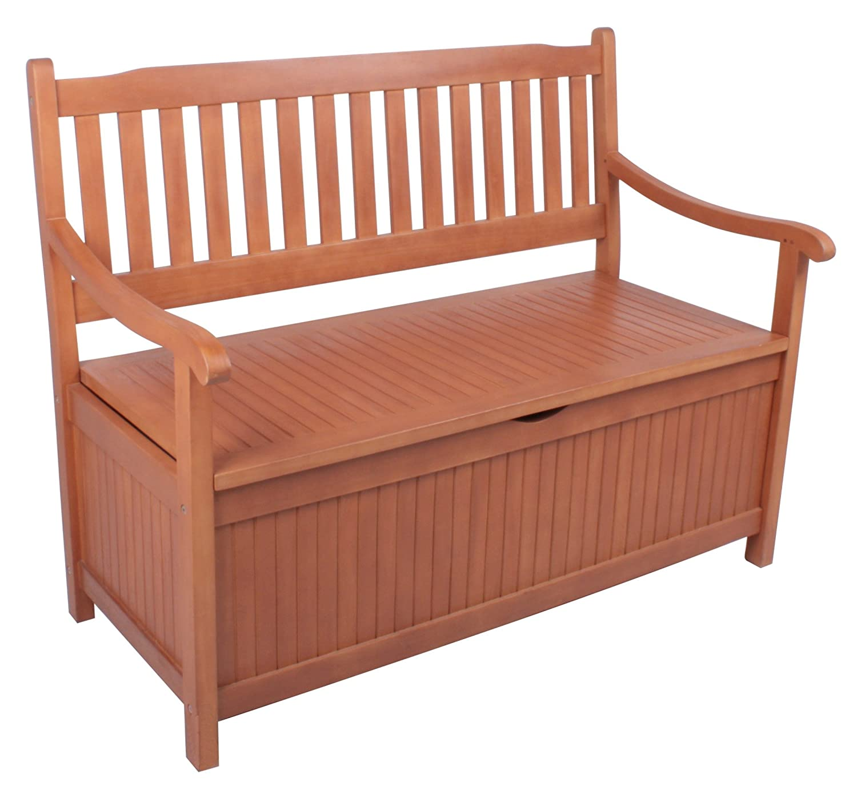 Gartenbank Houston mit Staufach aus geöltem Eukalyptus Sitzbank 2-Sitzer Holzbank Truhenbank