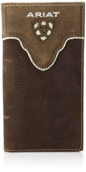 71d0d28ac98d Ariat Men's Distressed Shield Inlay Rodeo Western Wallet