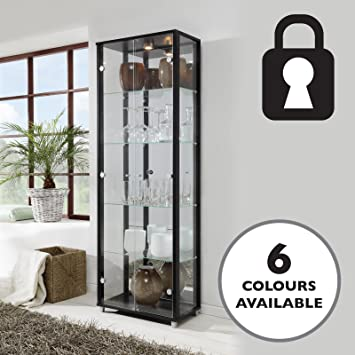 Lockable Double Glass Display Cabinet Black With Mirror Back, 4 Moveable Glass  Shelves, Spotlight