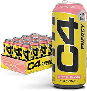 C4 Original Sugar Free Energy Drink 16oz (Pack of 12) | Cotton Candy | Pre Workout Performance Drink with No Artificial Colors or Dyes