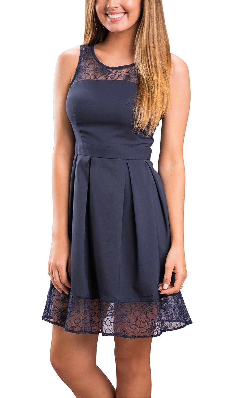 Ecowish - Vestido para mujer con encaje y sin mangas, talla única, falda midi: Amazon.es: Ropa y accesorios
