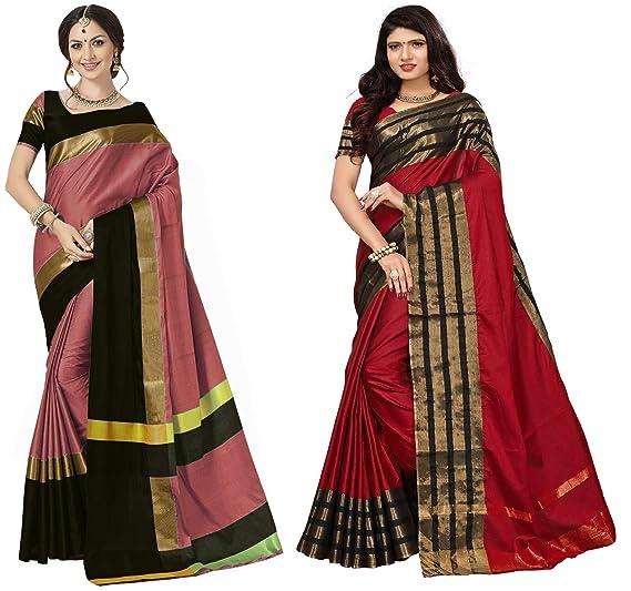 55b4cdf19902a Image Unavailable. Image not available for. Colour  Art Decor Sarees  Women s Cotton Silk Multi Color Saree With Blouse ...