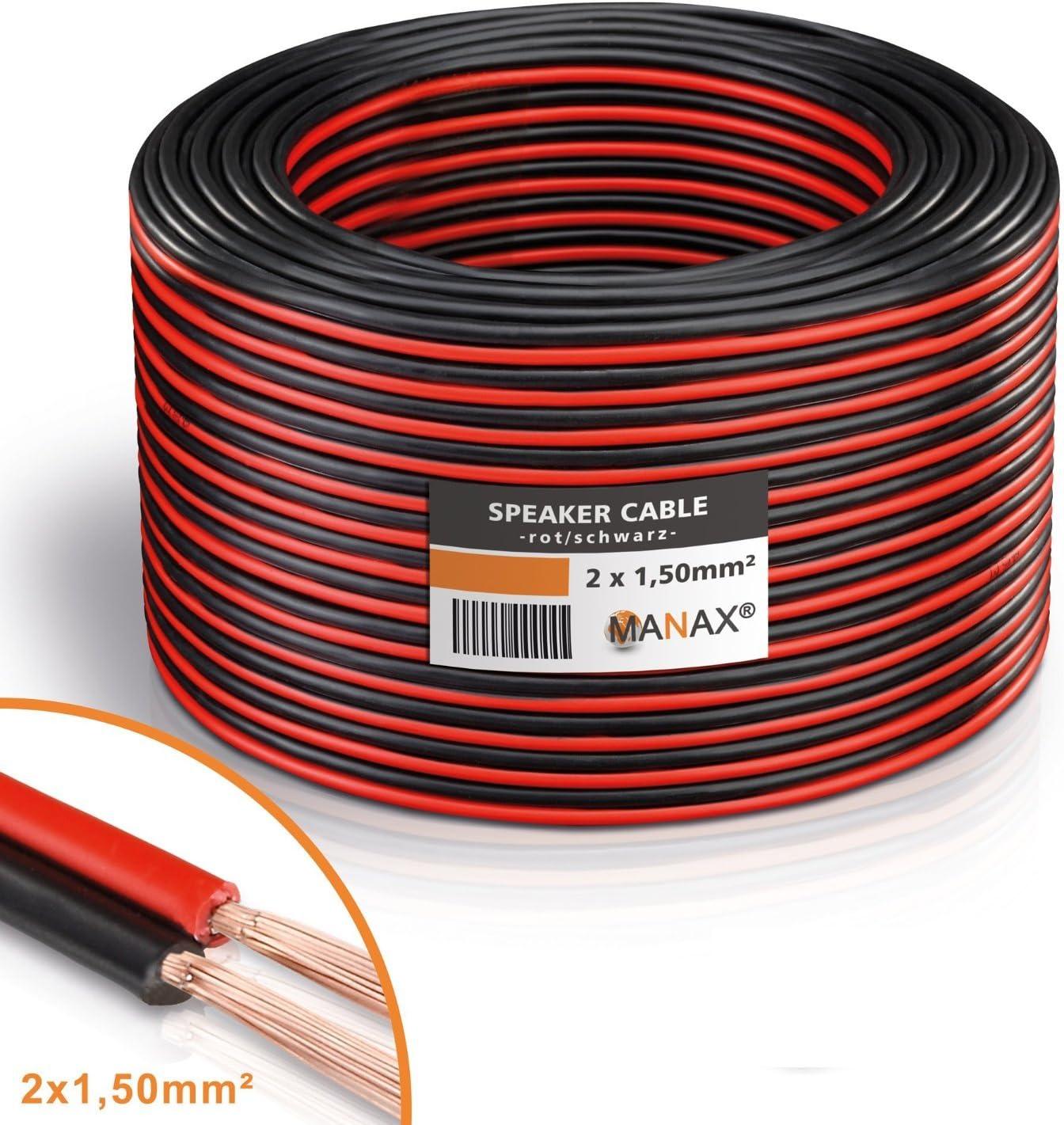 MANAX® cable del altavoz 2 x 1,50 mm² 30 m rojo/negro Anillo