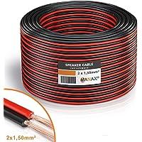 Câble de haut-parleur MANAX® 2 x 1,50 mm² rouge / noir 100,0 m