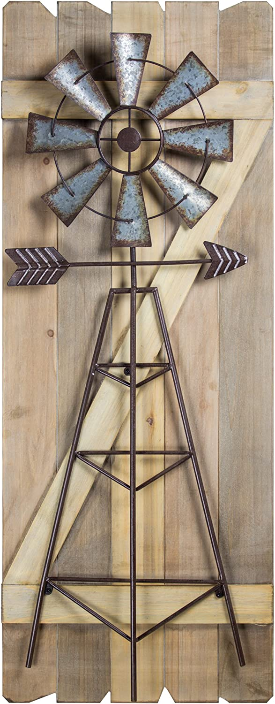 American Art Décor Windmill Arrow Wood Metal Hanging Wall Art Rustic Farmhouse Decor