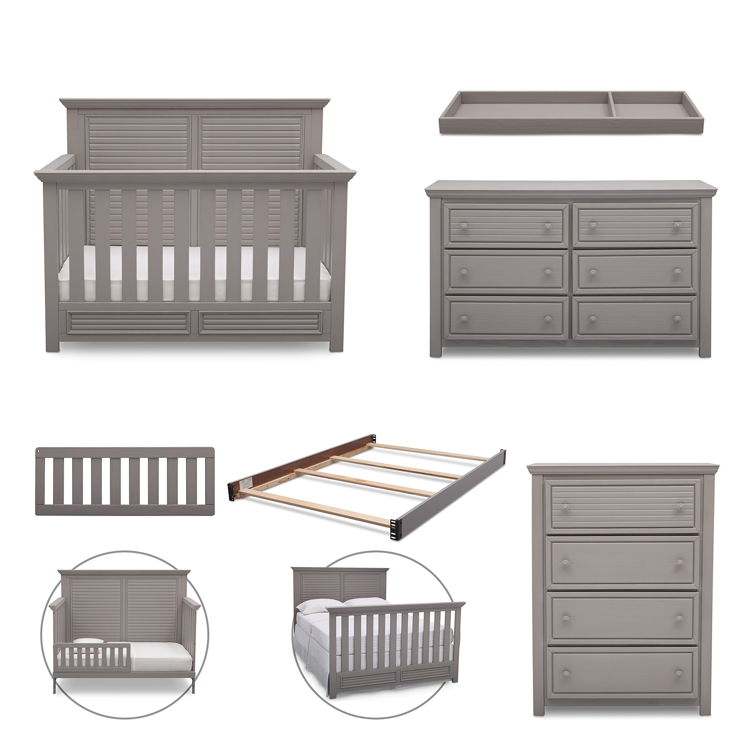 Simmons Kids Oakmont 6-Piece Nursery Furniture Set (Convertible Crib, Dresser, Chest, Changing Top, Toddler Guardrail, Full Size Conversion), Rustic Haze/Grey