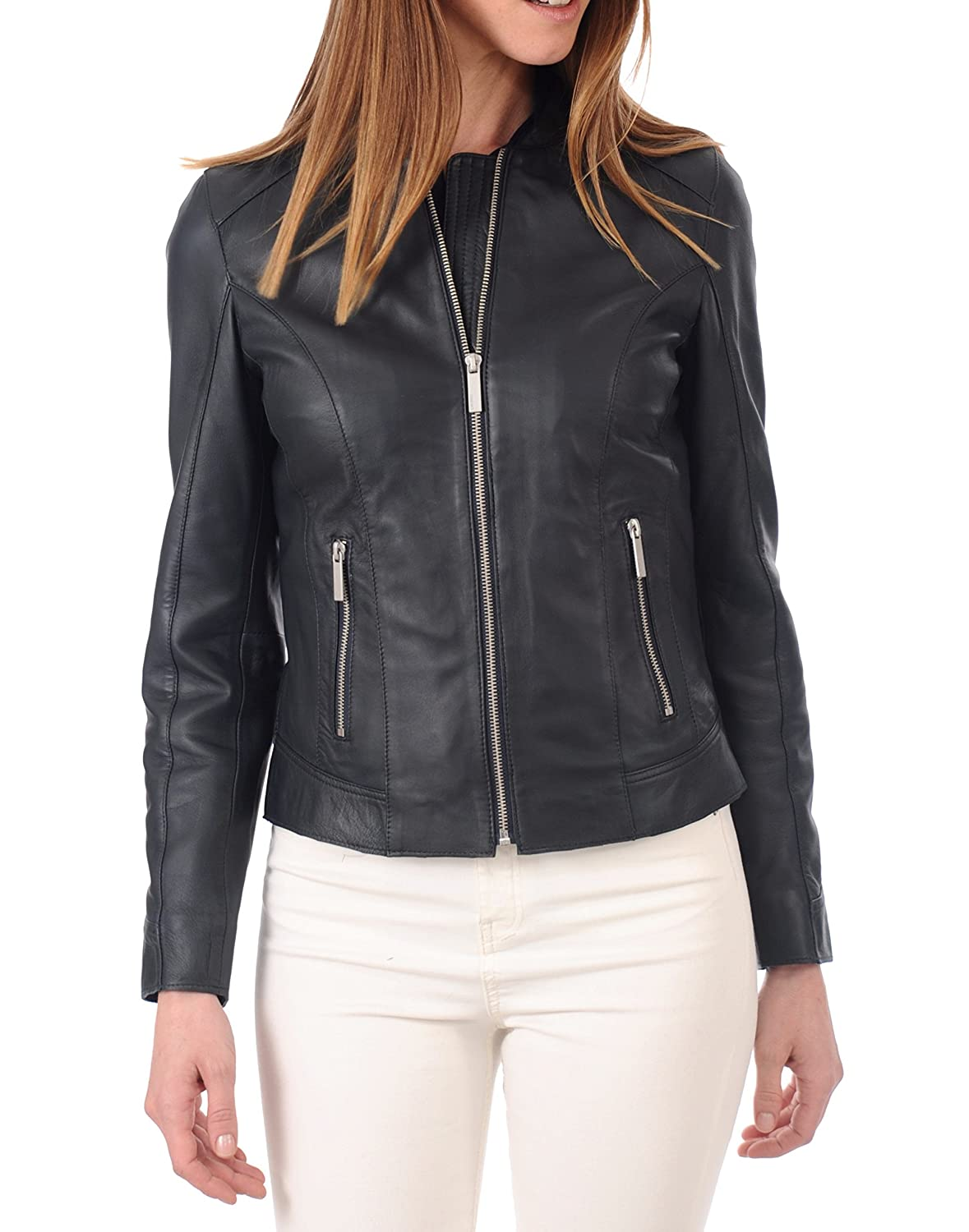 bluee19rc DOLLY LAMB 100% Leather Jacket for Women  Round Collar, Slim Fit & Quilted  Moto, Bomber, Biker Winter Casual Wear