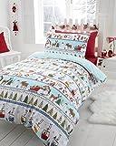 Parure de lit - housse de couette/taie d'oreiller - motif imprimé sur le thème de Noël/des fêtes - Noël enneigé - lit 1 personne (UK)