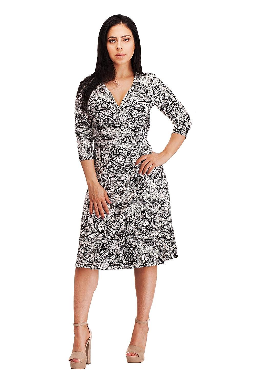 VERLINA Women s Vibrant Black Lace Pattern Wrap Dress w Deep V-Neck Design  at Amazon Women s Clothing store  1b239bdc9