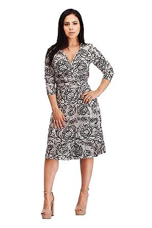 747c3141e831d VERLINA Women s Vibrant Black Lace Pattern Wrap Dress w Deep V-Neck Design  SM