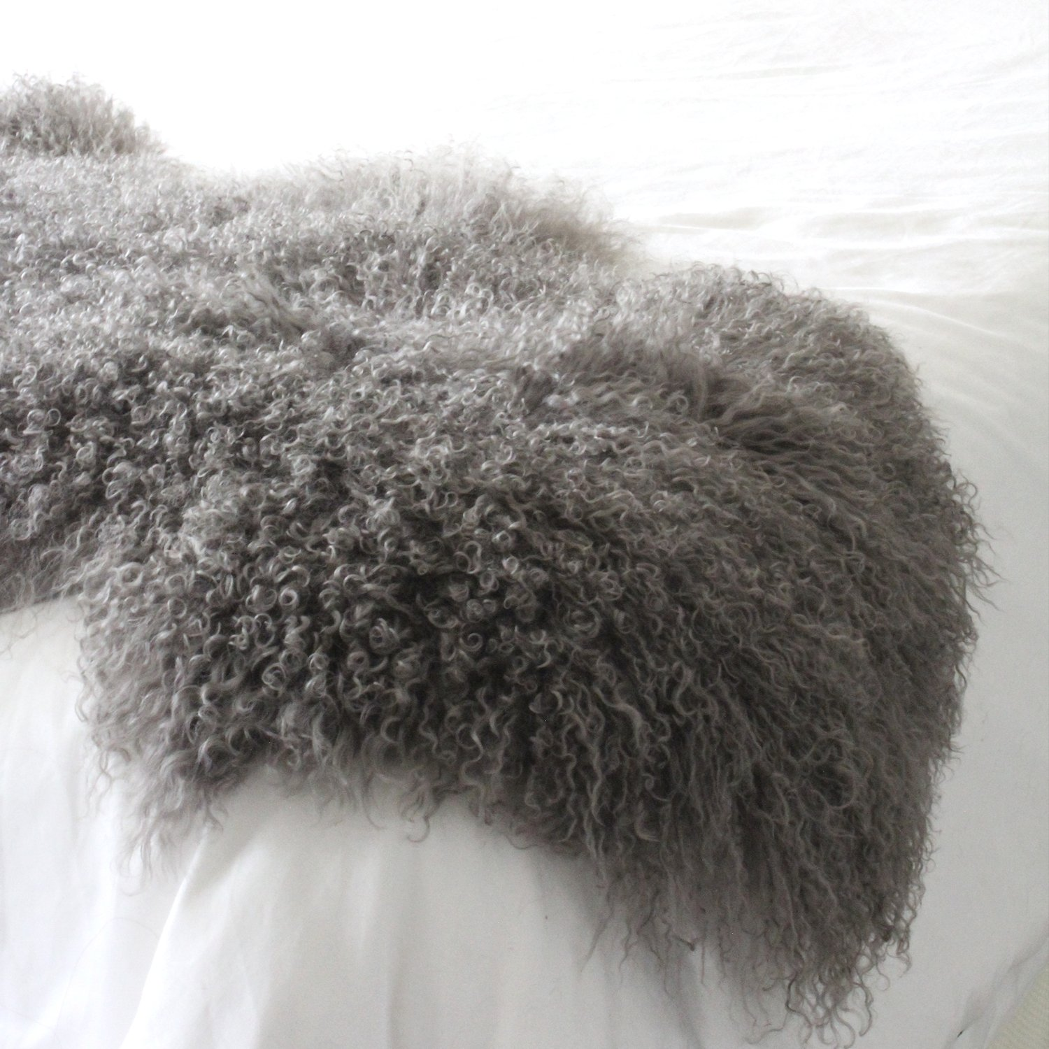 genuine grey Tibetan Mongolian Sheepskin lambskin bed scarf runner throw 24x71'' / 60x180cm single double queen bed by ELuxury Home