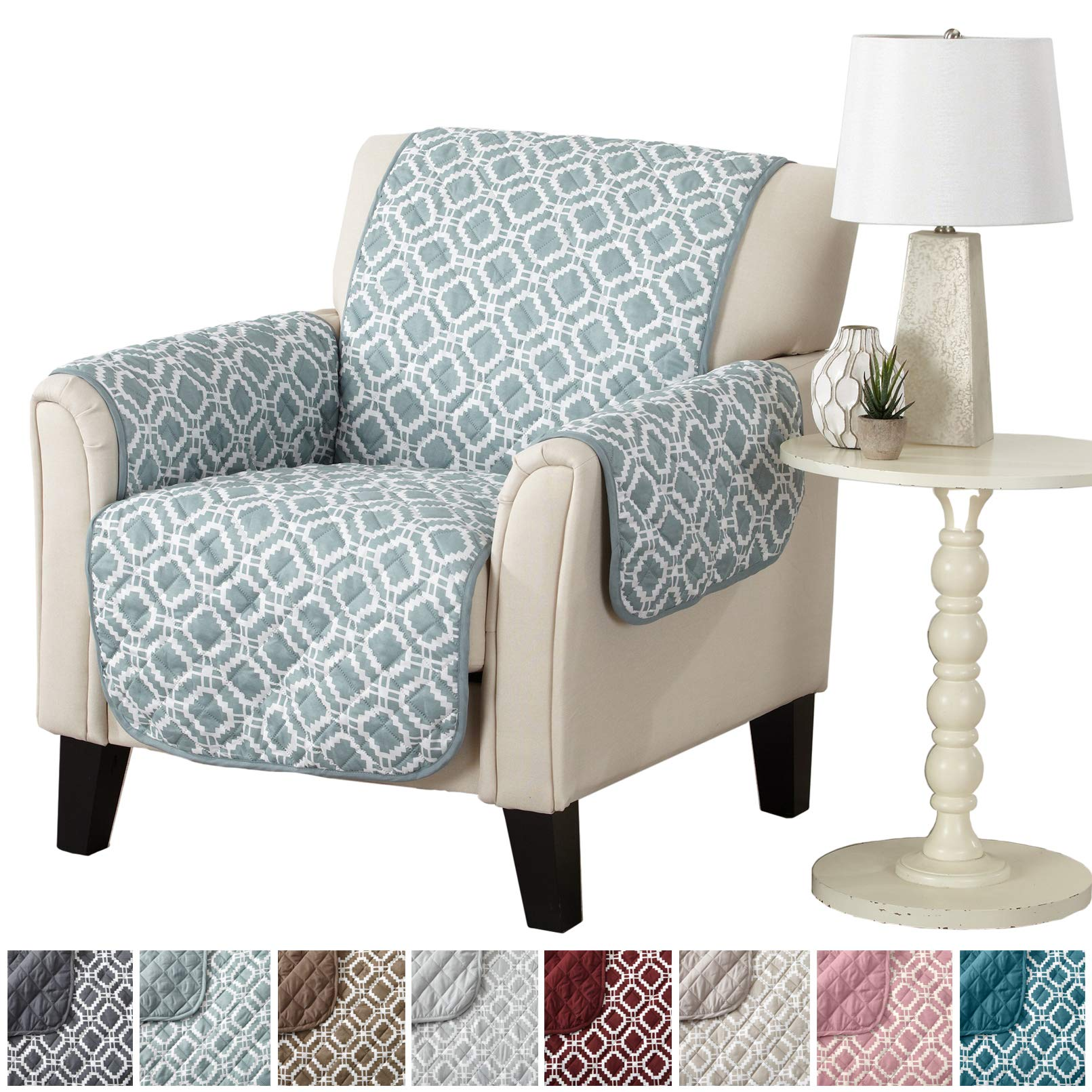 Modern Printed Reversible Stain Resistant Furniture Protector with Geometric Design. Perfect Cover for Pets and Kids. Adjustable Elastic Straps Included. Liliana Collection (Chair, Sea Blue Green) by Great Bay Home