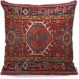 WONDERTIFY Throw Pillow Cover Case Antique Oriental Turkish Carpet Pattern Print Red - Soft Linen Pillow Case for…