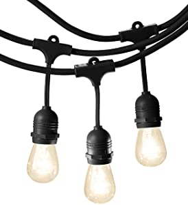 AmazonBasics Weatherproof Outdoor Patio String Lights S14 Bulb, Black, 48-Foot