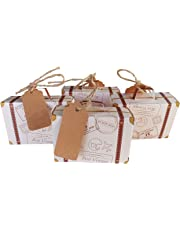 Lontenrea 50 Pcs Mini Suitcase Favor Box Wedding Birthday Party Candy Boxes with 50pcs Vintage Kraft Paper Tags and Twine Decoration