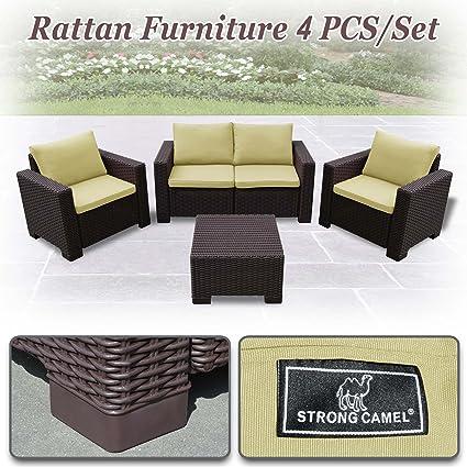 Amazon.com: Fuerte camello 4pc juego de muebles de patio ...