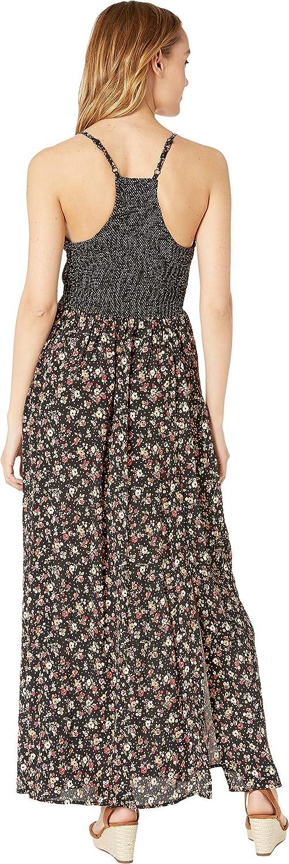 Angie Womens Smocked Sides Racerback Twin Print Maxi Dress