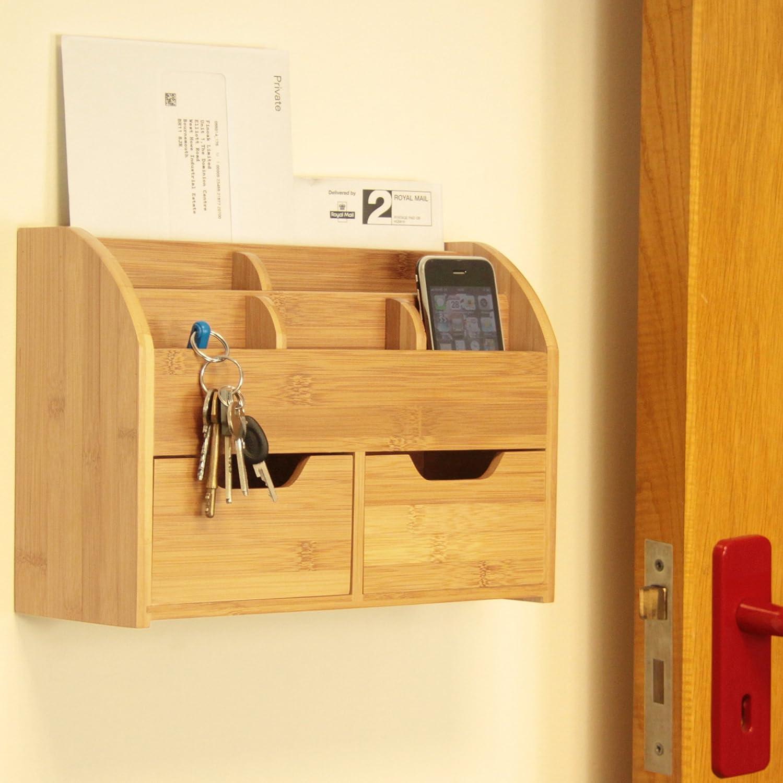 Bamboo Wall Mounted Letter Holder Key Rack (or Desk Stationery Organiser) Finoak