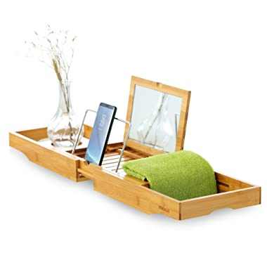 Mosa Natural Bamboo Bathtub Tray Bath Caddy Book Wine Glass Phone Holder, 27.6  X 8.7  X 1.9