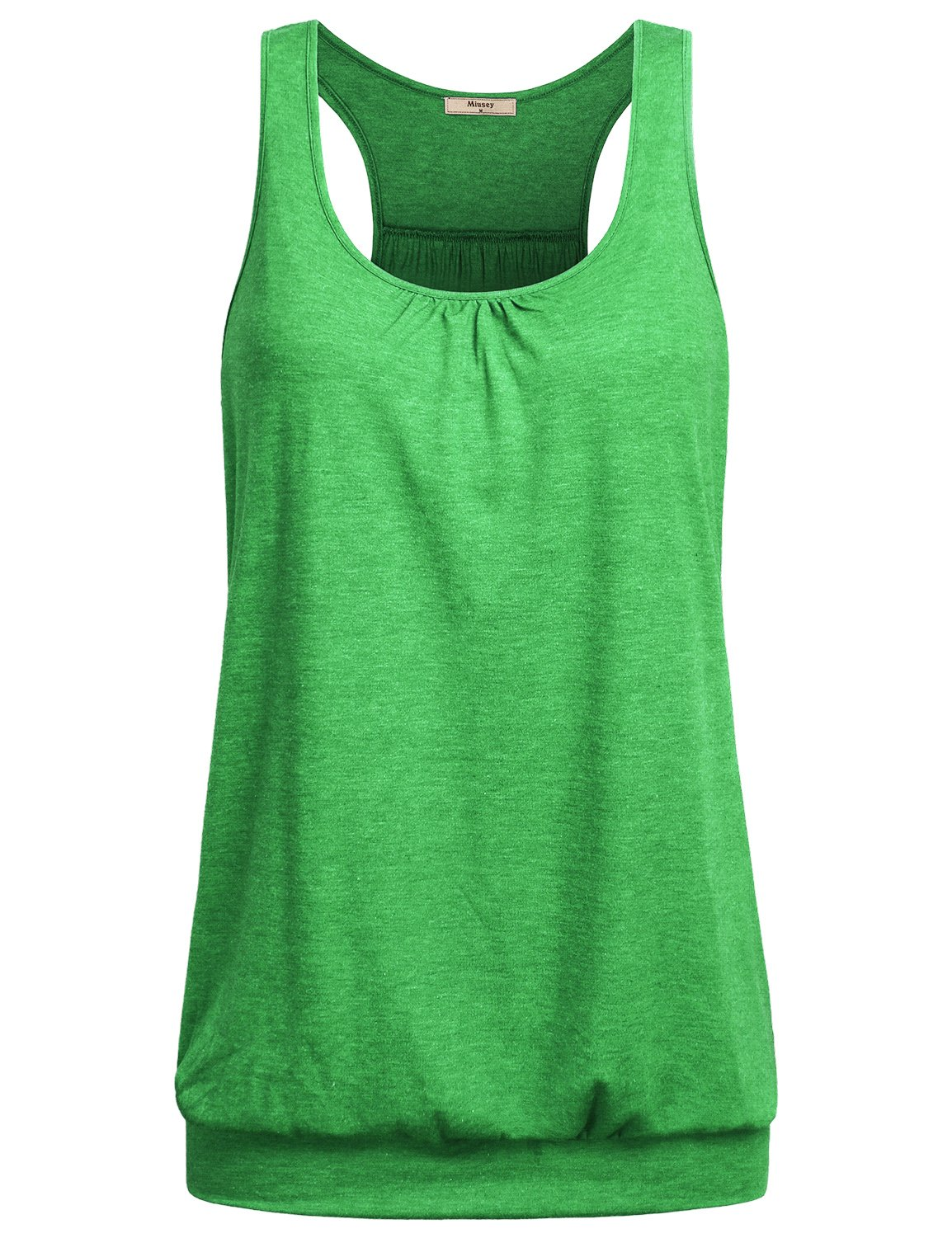 Miusey Womens Sleeveless Round Neck Loose Fit Racerback Workout Tank Top (XX-Large, Grass-Green)