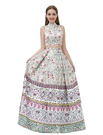 Jicjichos Womens 2 Piece Floral Print Prom Dresses with Pockets Size 2 Full Floral