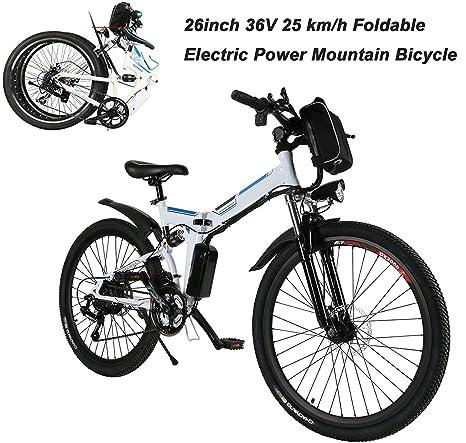 AIMADO Bicicletta Elettrica PIEGHEVOLE Mountain Bike 250 W 25 km h Shimano  21 in Alluminio a89e84b7e01