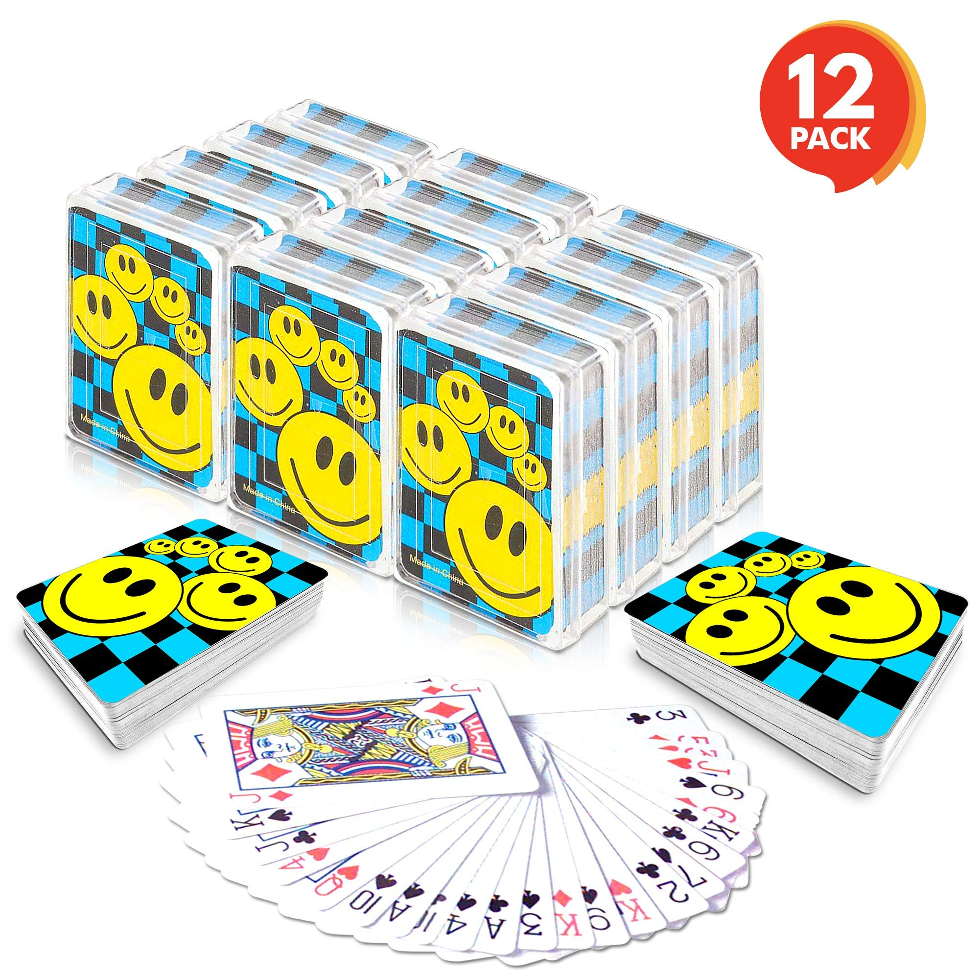 Gamie Mini Smiley Playing Cards Deck - Pack of 12 - 2.5 Inches Tall - Blue Checkerboard Background - Poker-Casino Cards - Carnival Prize, Party Favor and Gift Idea for Kids Ages 3+ by Gamie