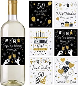 50th Birthday Wine Bottle Labels, Set of 6 Waterproof Labels, 50th Birthday Party Decorations, Ideas and Supplies, Birthday Gifts For Her