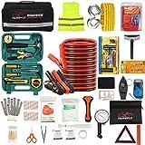HLWDFLZ Car Roadside Emergency Kit,with13FT Jumper Cables,Winter Traveler Safety Emergency Kit with Blanket Shovel Triangle F