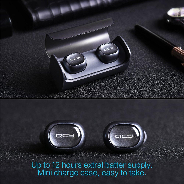 QCY Auriculares Inalámbricos, Q29 Mini Dual Auriculares Bluetooth 4.1 con Cargador Portátil y Micrófono para iPhone iPad, Android Tabletas Smartphones, ...