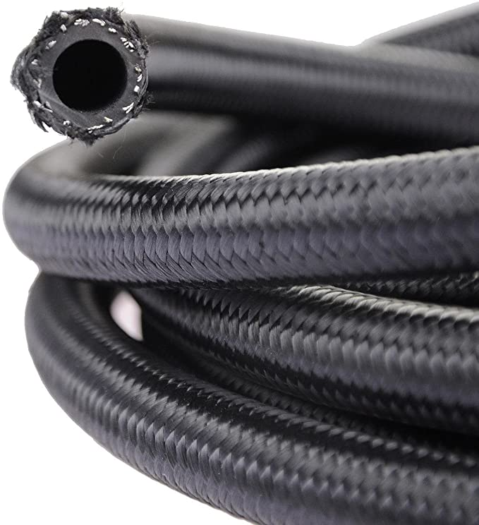 theBlueStone 3 Metros -4AN AN4 manguera trenzada de aceite de combustible de nylon negro de acero inoxidable para tubo de 1/4