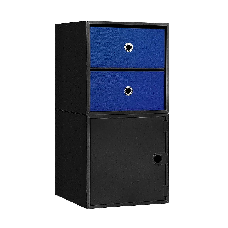 iCube CU0203 2-Drawer Nightstand, Black