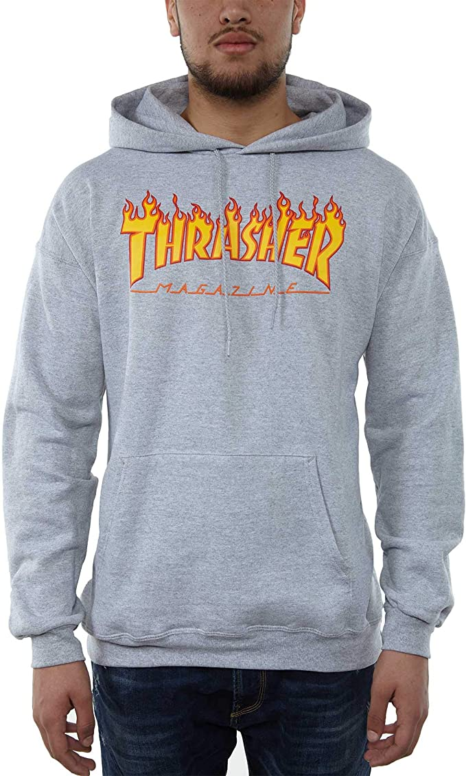 THRASHER Flame Hoody Heathergrey