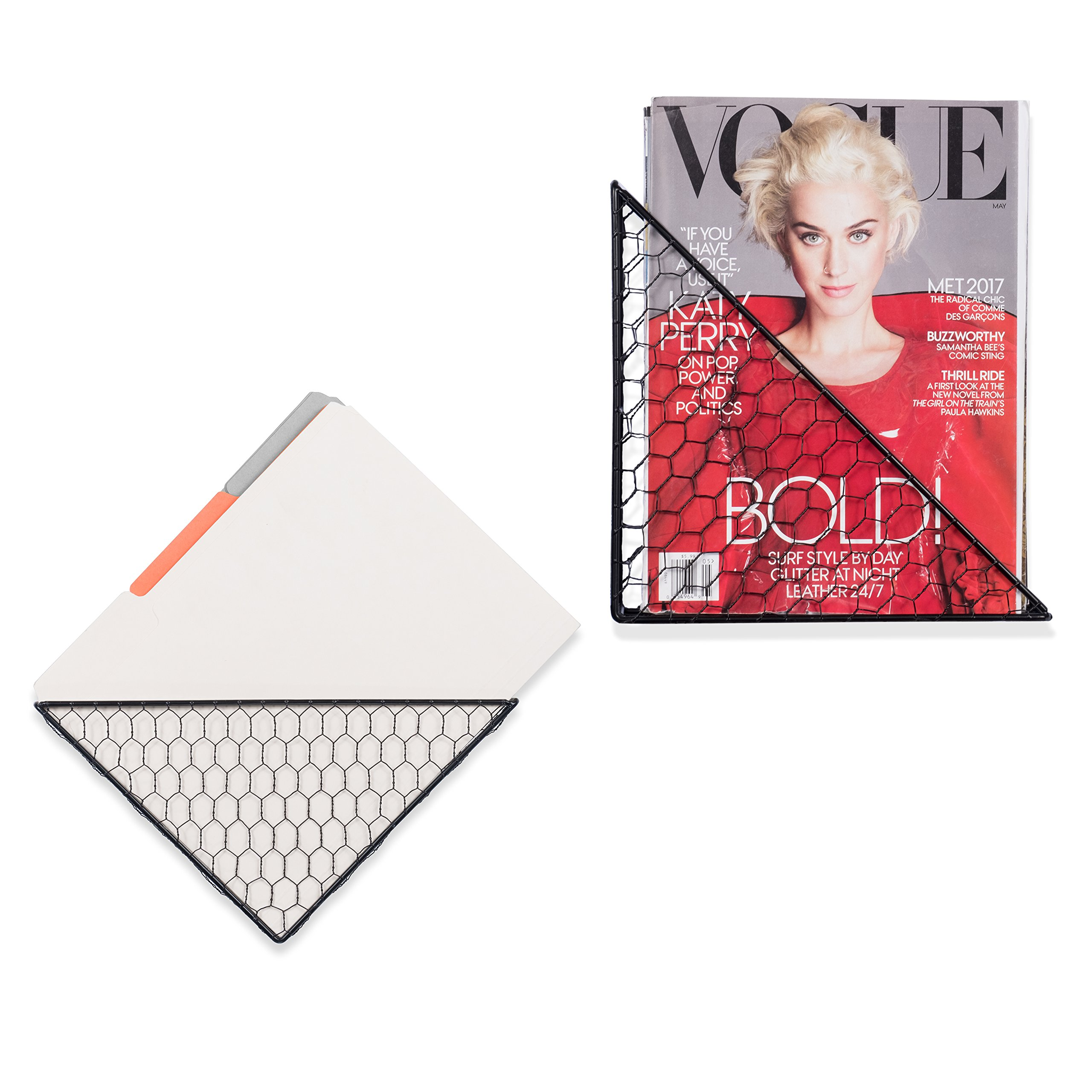 WALL35 Compact Triangle Shaped Playful File Folder Racks Chicken Wire Metal Black Set of 2