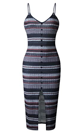 b3d296f30f5 Angashion Womens Dresses - Sexy V Neck Spaghetti Strap Button Front Striped  Bodycon Split Midi Dress