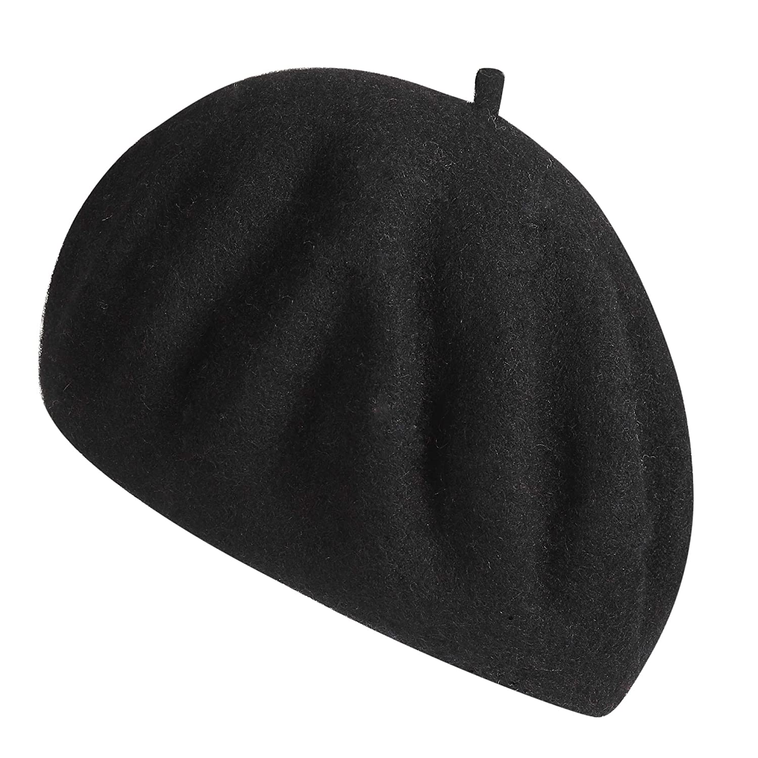 2d93c0a872931 ZHWNSY Womens Beret Wool French Beanie Cap Hat Solid Color Lightweight  Casual Classic(Black) at Amazon Women s Clothing store