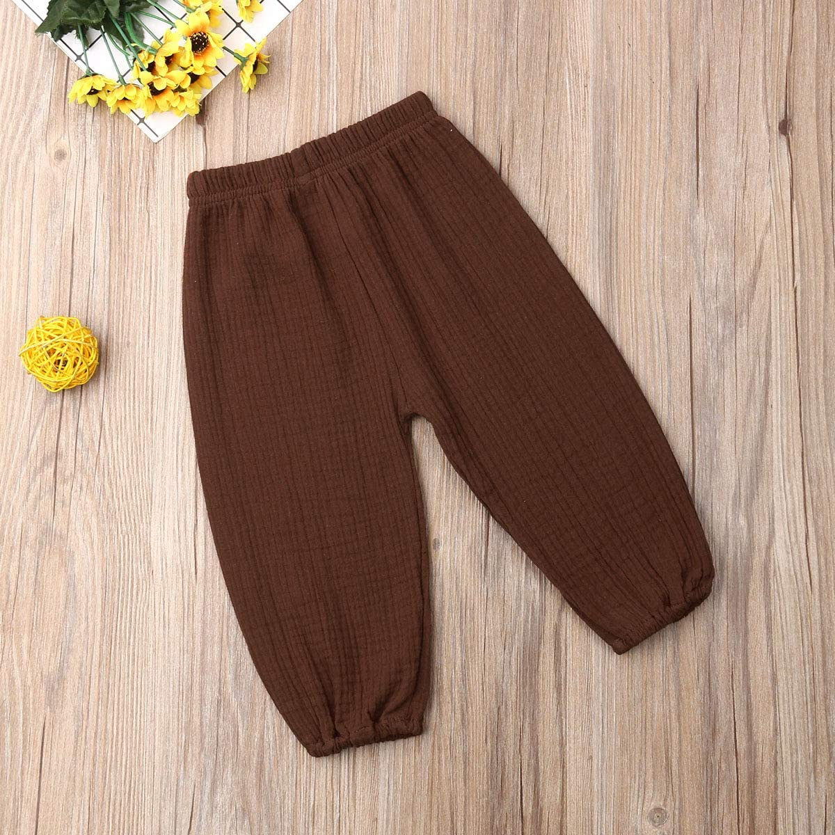 FLYFLYF Baby Cotton Linen Pants Toddler Baby Boy Girl Casual Eelastic Harem Pants Summer Bloomers Clothes